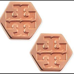 🔥SALE🔥 Tory Burch rose gold hexagon logo earrings